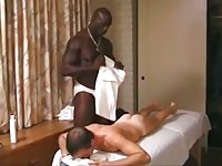 Ardent gay massage with huge black cock suck & fuck
