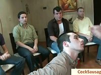 Group of horny gay men sucking sausage