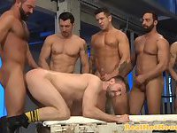 Masculine hunks giving groupal ass session
