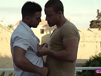 Paddy O'brian and Tony Gys on a hot outdoor gay couple sex