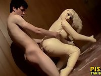 Horny twink Cooper loves pissing and fucking the blowup doll