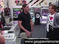 Amateur straight dude going gay for cash in shop
