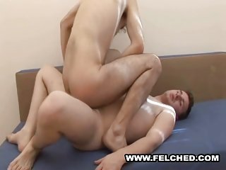 Hot bareback sex without condom with cum felching