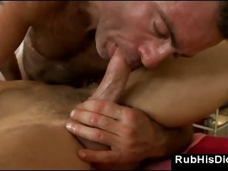 Gay sucks last drup of cum out dick after sex