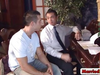 Married asian stud gets sucked