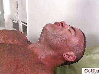 Horny masseur asshole rubbing