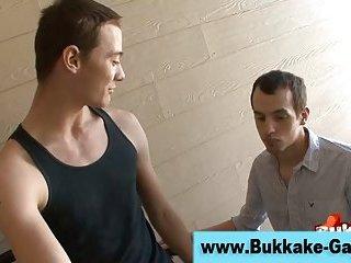 Gay twink bukkake gangbang orgy