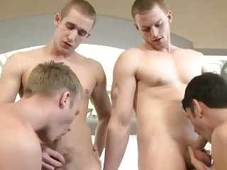 Hot gay group with ass fucking and sexy kissing