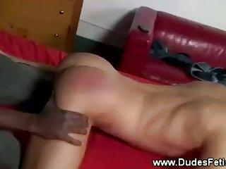 Ebony master spanks his ivory slaves ass
