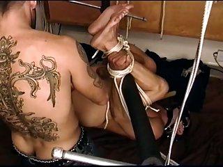 CBT hog tied ball bashing, anal play.
