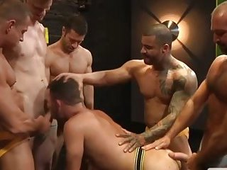One dudes sucks off five thick cocks and is loving it
