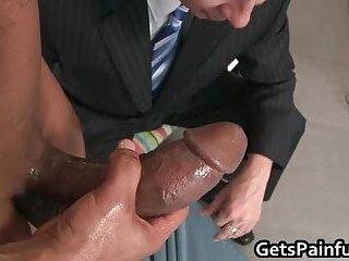 Nasty gay hunk blows massive black jizzster and gets his anus ba