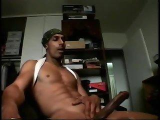 Black dude with big cock jerking