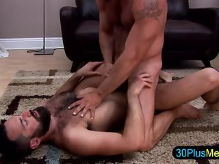 Muscly gay bears tug and cum