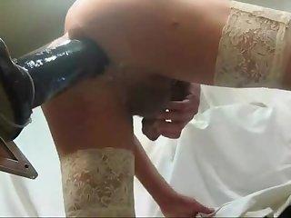 CD In Stockings Stretching Butt With Huge Black Toy