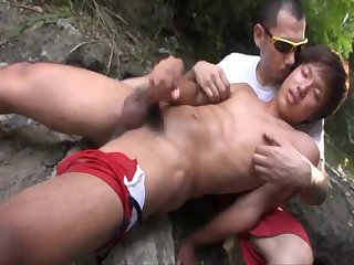 Lovely japan beach gay cumshot