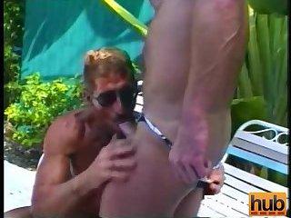 Muscle Guys Enjoy Blowjob Outdoor